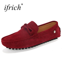 Ifrich 2017 New Shoes Men Loafers Suede Slip on Mens Leather Footwear Lightweight Driving Walking Shoes Comfortable Loafers Men