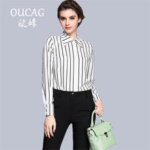 OUCAG 2017 Autumn Fashion Women Blouse Elegant Tops Stripped Shirts Office Female Long Sleeve Turn-down Collar Shirts
