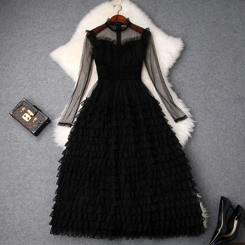 Nouveau printemps 2019 femmes Sexy à manches longues noir dentelle maille Patchwork plissé Maxi robe élégante volants longue robe de soirée