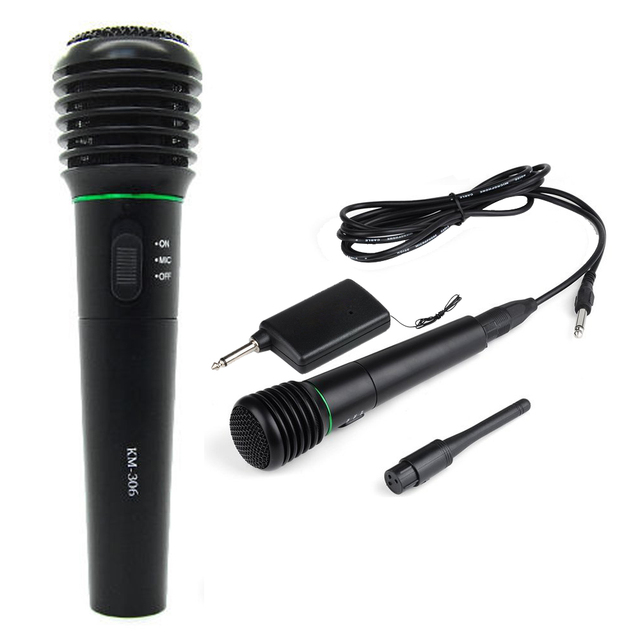 2 em 1 com fio & sem fio microfone de mão sem fio & wired microfone receptor unidirecional preto