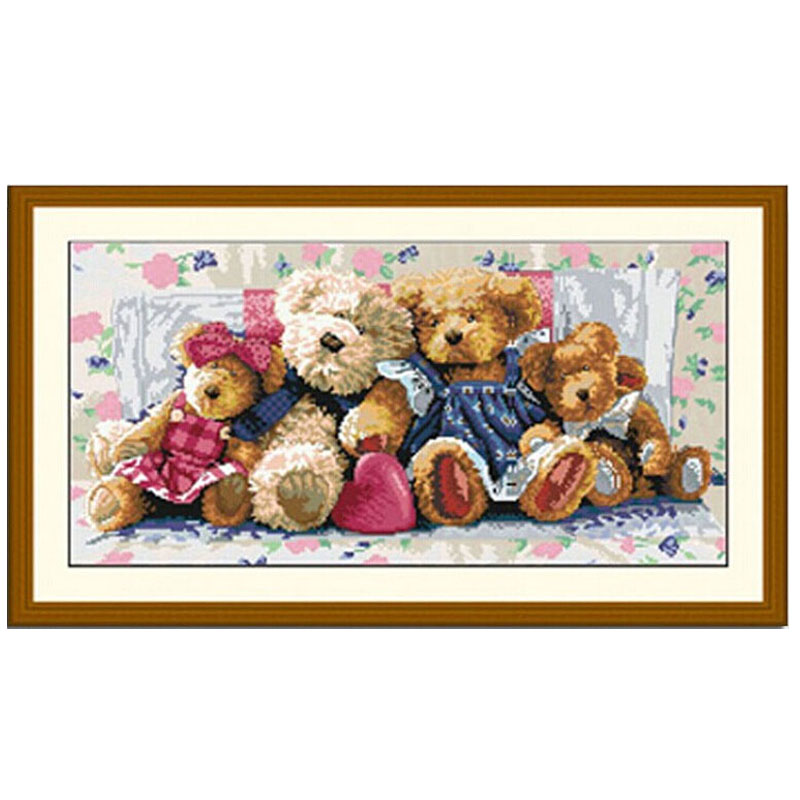 Embroidery,Diamond mosaic,5D Diamond painting,Diamond stitch,Diamond Embroidery Pattern Rhinestone bear one family Cross Stitch