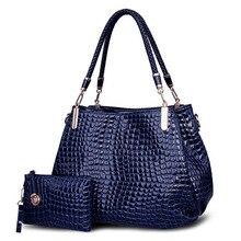 Crocodile Borse women totes lady handbag+purse/wallet carteras mujer big capacity black white shoulder kit bag 2bags/sets 639