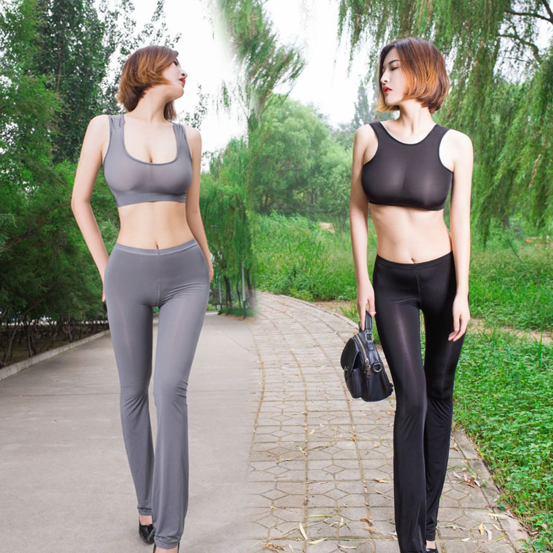 Sexy Women Ice Silk Shiny See Through Flare Pants Glossy Solid Transparent Pants Lossy Pant Low Waist Sexy Pants Plus Size F16