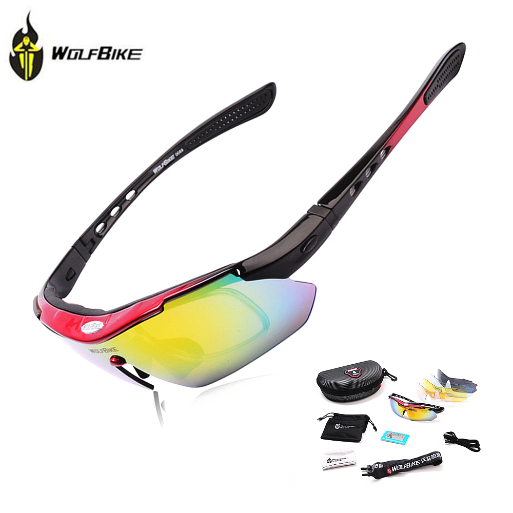 WOLFBIKE Polarized 5 Lens Cycling Eyewear Sun Glasses Mens Sports Bicycle Glasses Bike Sunglasses Driving Skiing Goggles, Red