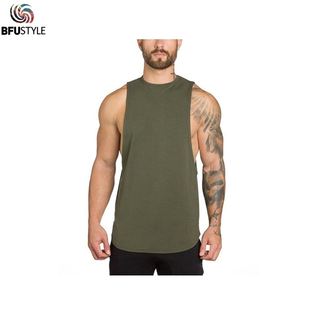 d347a7136f9ee7 Bodybuilding Fitness Tank Tops Men Sleeveless Solid Color Gym Clothing Shirt  Cotton Muscle Guys Brand Male Undershirt Vest Tops