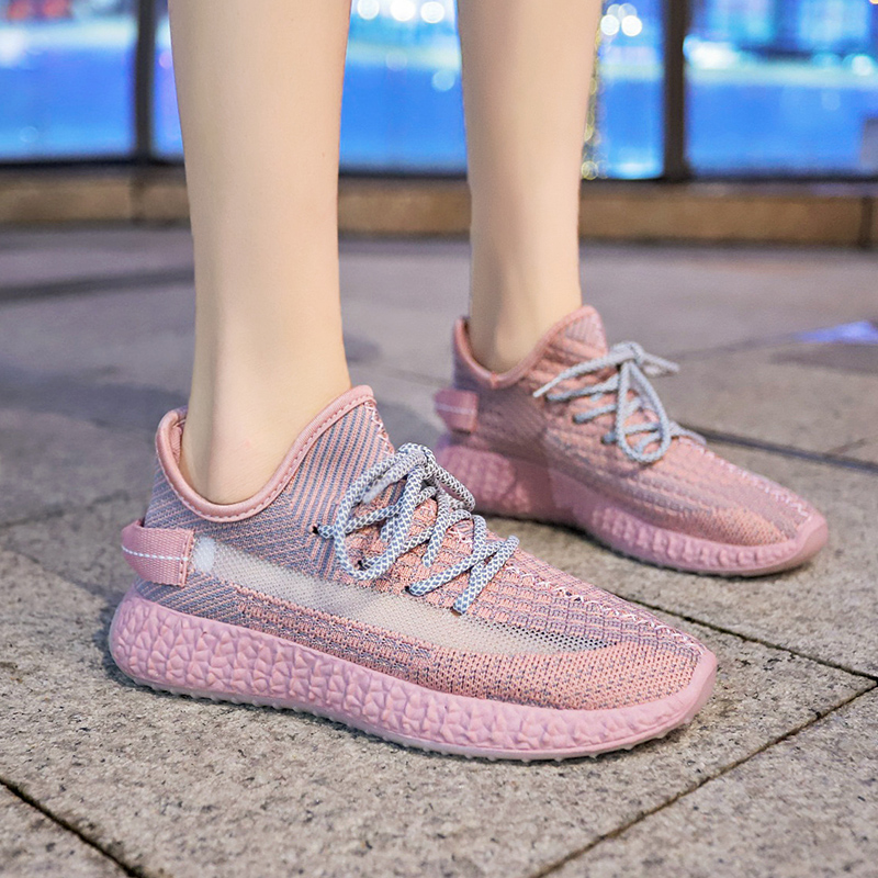Classic women Running Shoes Breathable Sneakers Comfortable Slip Ons Summer Footwear Athletic Mesh Sport Shoes pink Boost Air350(China)