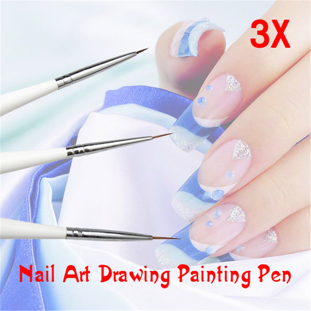 3 unids blanco Manicura diseño set dotting pintura dibujo Cepillos ...