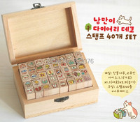 DHL Free Shipping 70 Sets New Wooden Cat Stamp 40 Pcs Set DIY Funny Work Wood
