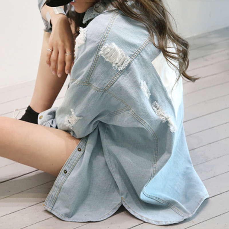 Casual Loose Long Denim Shirt Women 2019 Spring Autumn Streetwear Boyfriend Letter Print Ripeed Plus Size Jeans Tops Long Sleeve in Blouses amp Shirts from Women 39 s Clothing