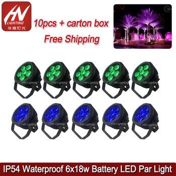 10 шт. мини uplights беспроводной dmx 6*18 Вт RGBWAUV 6in1 Led Par свет водонепроницаемый сценический свет батарея DJ par can