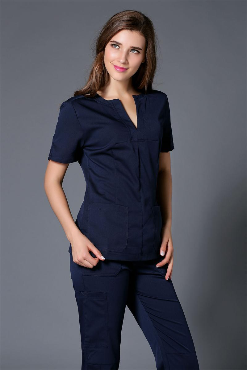 2017 verano Mujer hospital Médico scrub ropa conjunto clínica dental y salón de belleza enfermera uniforme diseño de moda ajustado