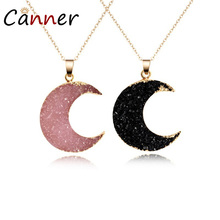 CANNER Simple Romantic Natural Stone Necklace Statement Resin Moon Pendant Women Girl Chain Jewelry Gift FI