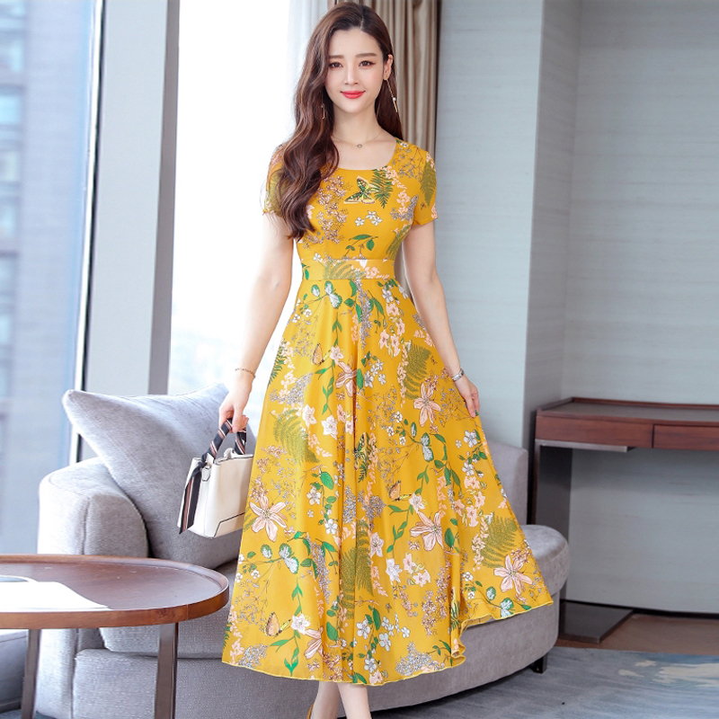 Long Summer Floral Dress Women Flower Print Casual Scoop Neck Dress Short Sleeve Office Ladies Elegant Vintage Boho Party Dress in Dresses from Women 39 s Clothing