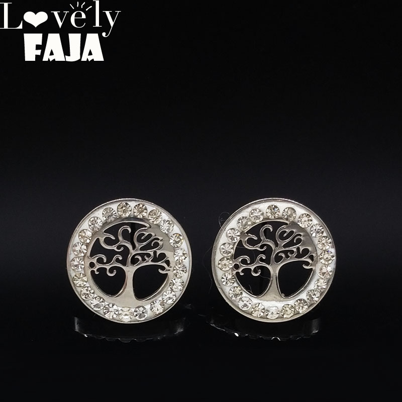 2020 Tree Of Life Stainless Steel Earing For Jewelry Silver Color Crystal Stud Earrings Jewelry Pendientes Mujer Moda E612609