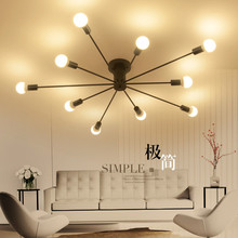 10 Heads Multiple Rod Wrought Iron Ceiling Light Retro Industrial Loft Nordic E27 Black/white Lamp for Home Decor Cafe