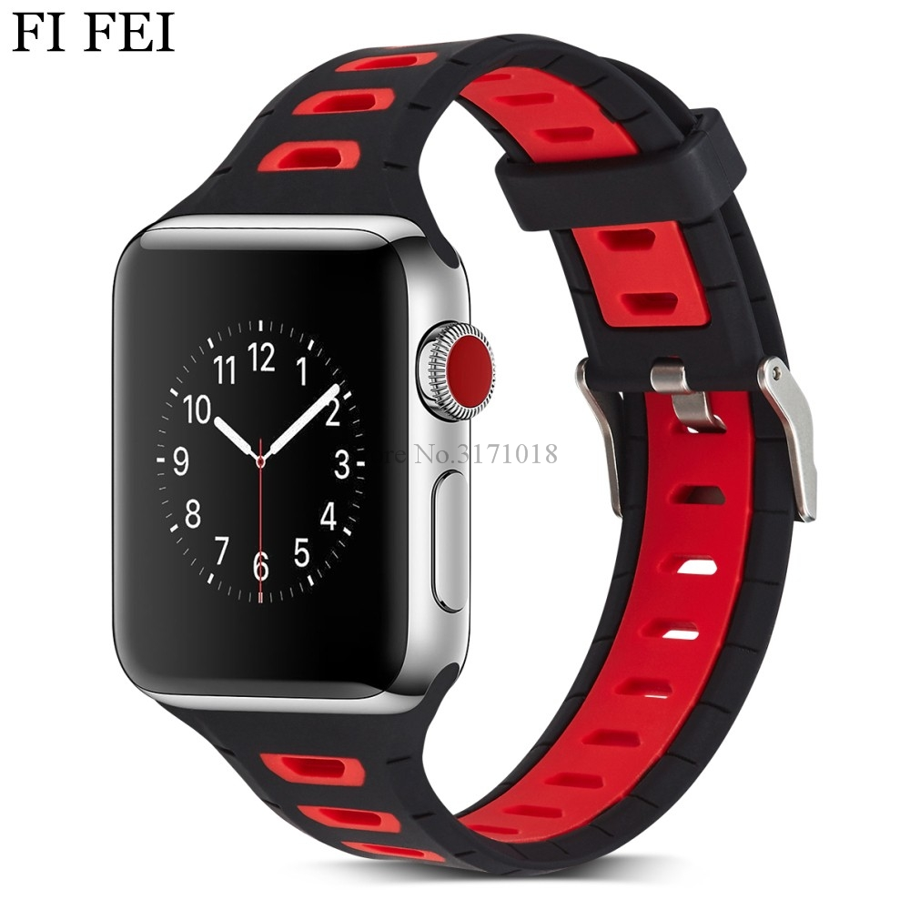 где купить FI FEI Colorful Double Color Soft Silicone Replacement Sport Band For 38mm Apple Watch Series 1 2 3 42mm Wrist Bracelet Strap по лучшей цене