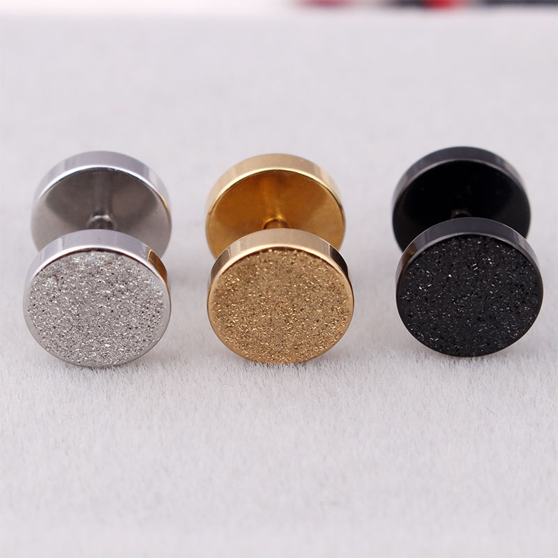 Fashion Men Barbell Earrings Silver Gold Black Stainless Steel Double Round Frosting Barbell Stud Earrings Brincos Jewelry