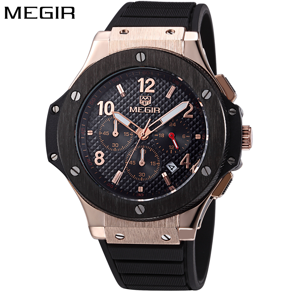 Relojes hombre fashion military watch gold MEGIR luxury brand calendar Business male clock sport watch quartz wristwatch mens minifocus mens watch sport waterproof wristwatch genuine leather relojes hombre 2017 quartz male business watch
