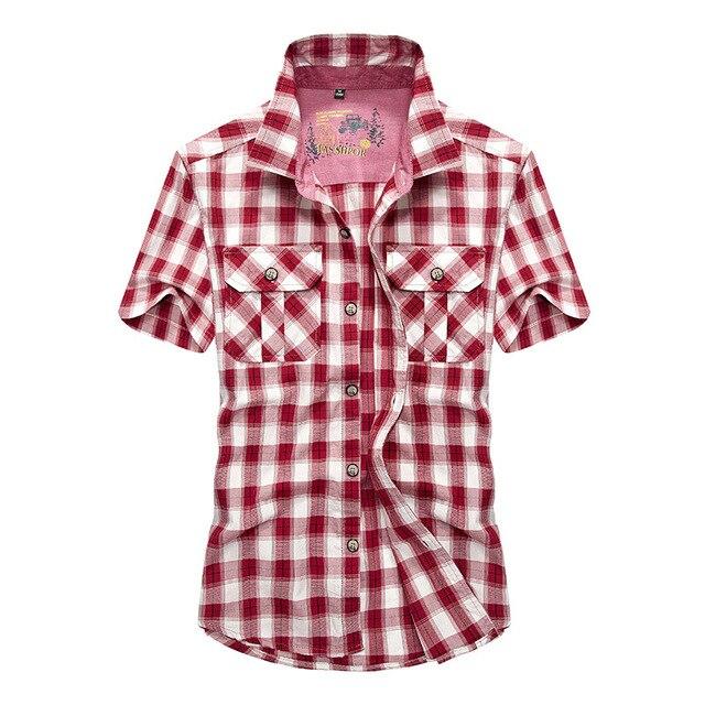 huge discount e27cf 6e8df US $28.35 49% di SCONTO|Jeep Marca Plaid Shirt Per Gli Uomini Manica Corta  Camicia Rossa Camicia A Scacchi Casuale degli uomini Vestiti di Cotone ...