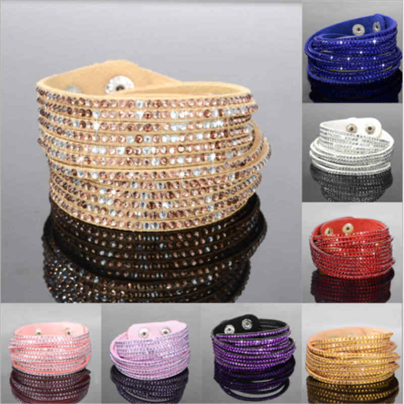 Fashion Rhinestone Leather Wrap Bracelet Crystal Multilayer Bracelets Bangles For Women/Men