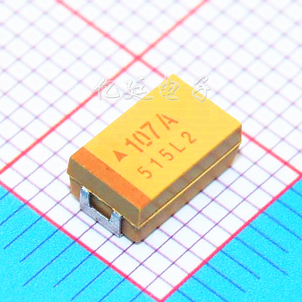 Chip Tantalum <font><b>Capacitor</b></font> 107A <font><b>100UF</b></font> <font><b>10V</b></font> D Type 7343/2917 10% Yellow Polarity Choke <font><b>Capacitor</b></font> image
