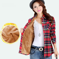 Velvet Thick Warm Women S Plaid Shirt Female Long Sleeve Tops Plus Size Winter Check Blouse