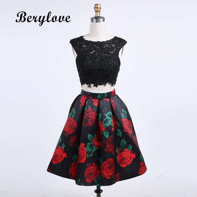 BeryLove Two Piece Round Neck Black Homecoming Dresses 2018 Flower Print Short  Cocktail Party Dresses Open cdef94dbc370