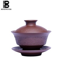 140cc Yixing Purple Clay Gaiwan Handmade Natural Raw Ore Zisha Vintage Teaware Home Tea Ceremony Tieguanyin Pu Er Teapot Gifts(China)