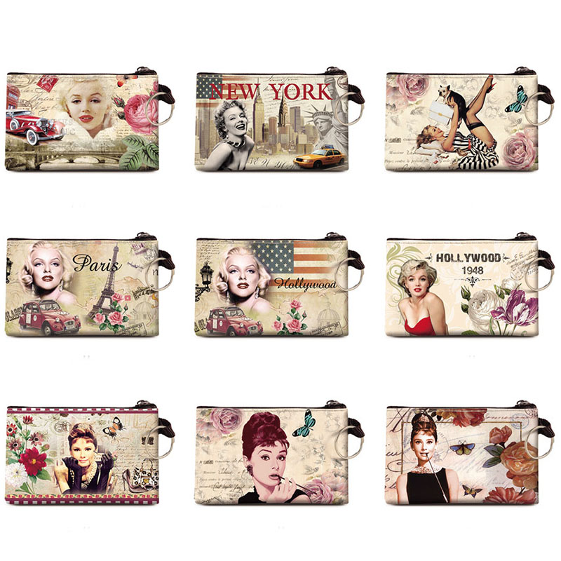 Graffiti Marilyn Monroe Coin Purse Change Purse Audrey Hepburn Card Holder Handmade Wallet Purse Women Clutch Zip Coin Bag Pouch