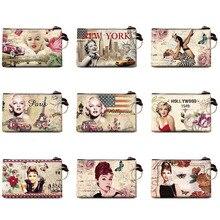 Graffiti Marilyn Monroe coin purse Change Purse Audrey Hepburn Card Holder Handmade Wallet Purse Women Clutch Zip Coin Bag Pouch цена 2017