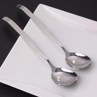 12 Pieces 9''/23cm Korean Long Handle Soup spoon Stainless Steel Dinner spoon set Korean stirring spoon Large Tablespoons