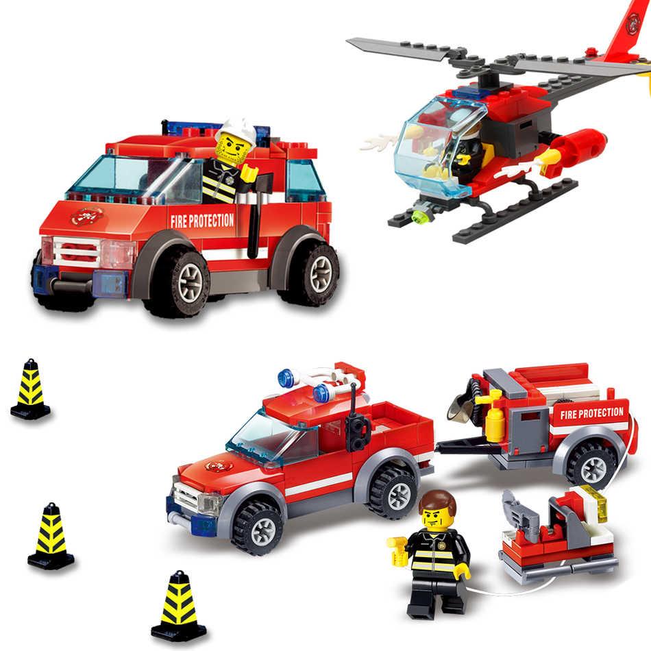 KAZI 9 Style Fire Fight Series City Fire Station Truck Helicopter strażak cegły budowlane klocki dla dzieci 8051-8059