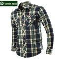 SenLin JIPE AFS Xadrez Cardigan Casual Algodão Camisa de Manga Longa, 100% Algodão ocasional Magro Motocicleta Marca Camisas de Manga Completos