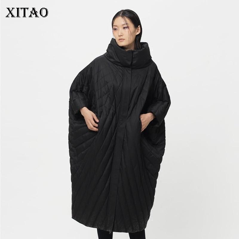 [XITAO] 2018 Autumn Korea Fashion New Women Casual Full Sleeve Shite Duck   Down   Solid Color Batwing Sleeve Long   Down     Coat   LJT4320