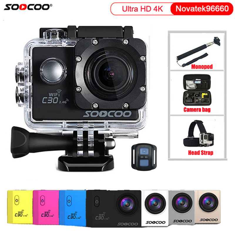 Action Camera Original SOOCOO C30 / C30R Remote HD 4K Wifi 1080P 60fps 2.0 LCD 170D Sport Go Waterproof Pro Camera action camera h3r h3 ultra hd 4k 170d lens go dual screen camera pro waterproof 30m remote control sport camera