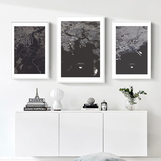 World City Map Amsterdam Boston Chicago Poster Nordic Style Living