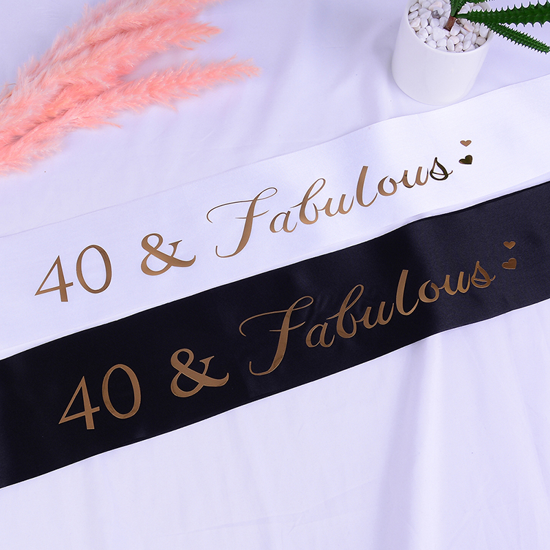 Happy <font><b>40th</b></font> <font><b>Birthday</b></font> Party 40 & Fabulous Gold Glitter Satin Sash Decoratons <font><b>Ideas</b></font> Supplies Favor Gifts for Women <font><b>Men</b></font> image