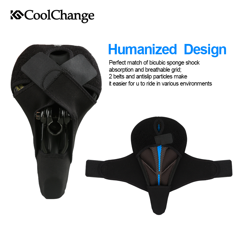 CoolChange 3D Thicken Bicycle Seat Cover with Anti slip Soft Sponge Mountain Bike Saddle Cover Cycling Bicycle Seat Cushion Pad in Bicycle Saddle from Sports Entertainment
