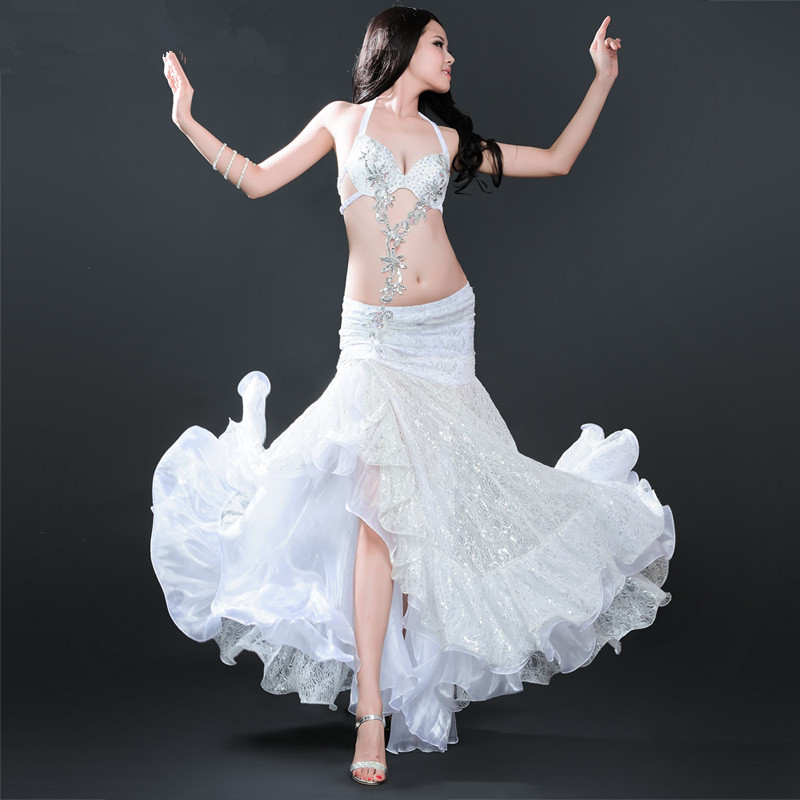 (2 get 5% off) Customize Classic white/rose red gypsy belly dance costumes competition performance set (bra+skirt)