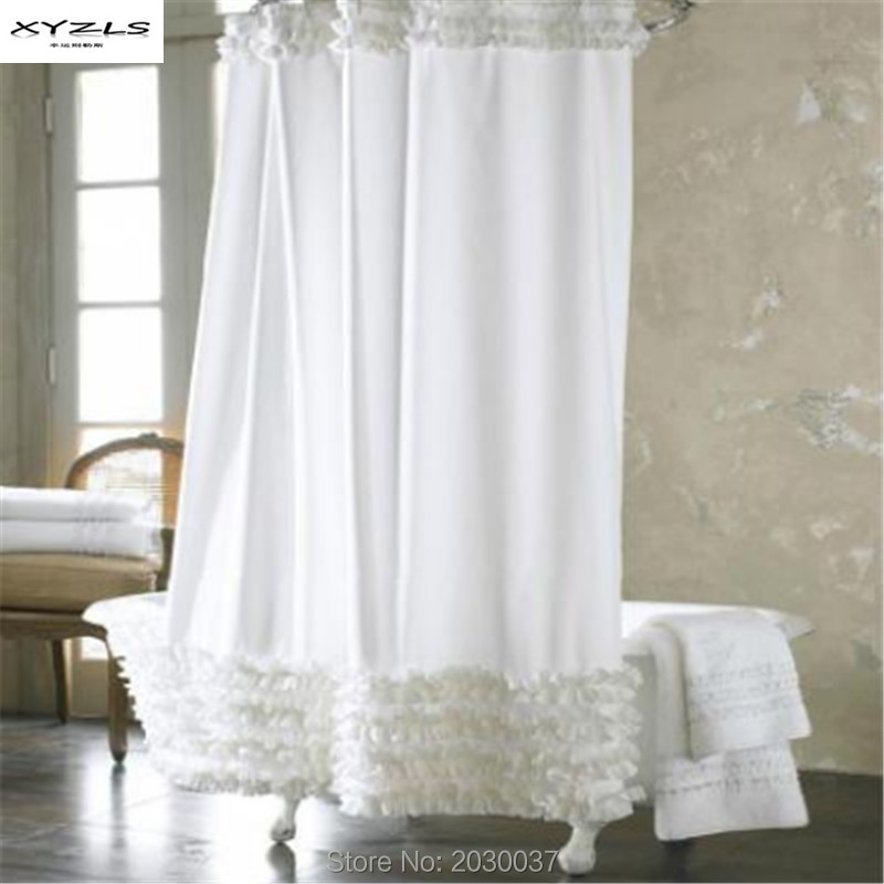White Lace And Ruffles Design Shower Curtain Waterproof Mildewproof  Polyester Window Curtains Shower Room Bath Curtain 180x180cm