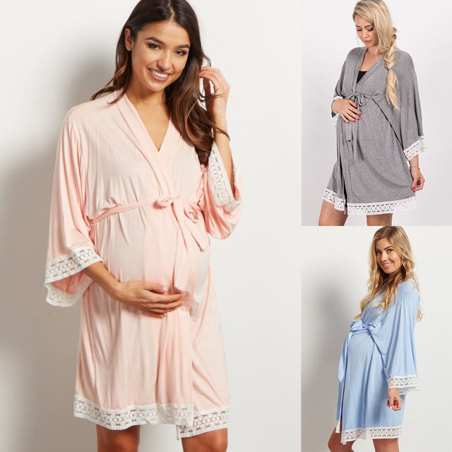 5134d05c501d0 Maternity Solid Color Sleepwear Dress Pregnant Women Lace Stitching  Cardigan Breastfeeding Robes Pajamas Pregnancy Mom Nightwear