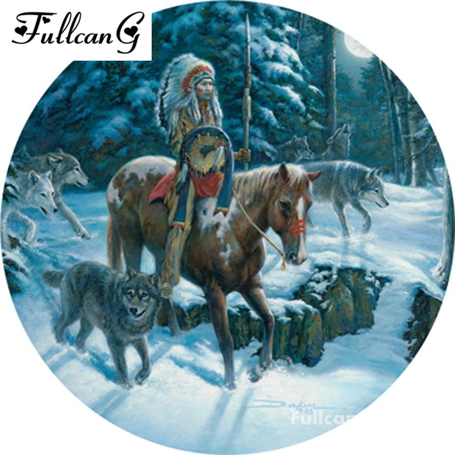 FULLCANG 5D Diamond Mosaic Diamond Painting Cross Stitch American Indian warrior Diamond Embroidery Patterns Rhinestones F085