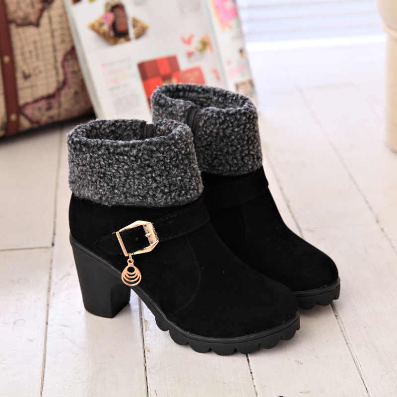 MCCKLE/женские зимние повседневные ботильоны на платформе и высоком блочном каблуке, женские замшевые флисовые теплые зимние ботинки на молнии с пряжкой