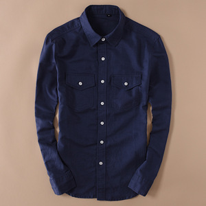 Image 4 - Brand 2020 Mens Long Sleeve Casual Linen Shirt Mens Social Turn down Collar Slim 2 Pockets Solid White Designer Dress Shirts XXL