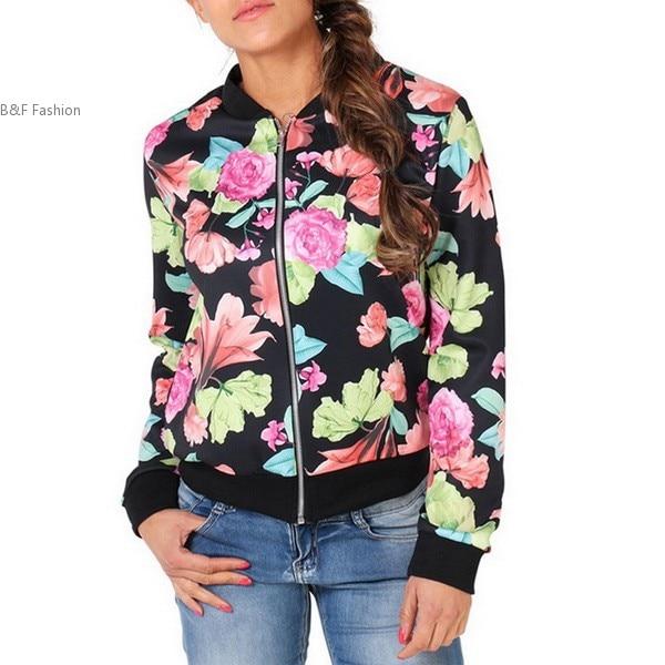 Mujeres de la manera Floral Delgado Cremallera Corta Ocasional Escudo Bomber Jac