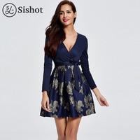 Sishot Women Office Dresses 2017 Autumn Dark Blue Sexy Deep V Neck Long Sleeve Floral Print