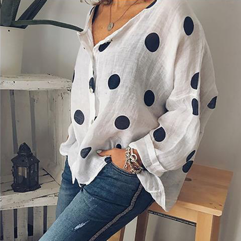 Women Polka Dot Print Shirt Casual Loose V neck Blouse Summer Plus Size Blouses in Blouses amp Shirts from Women 39 s Clothing