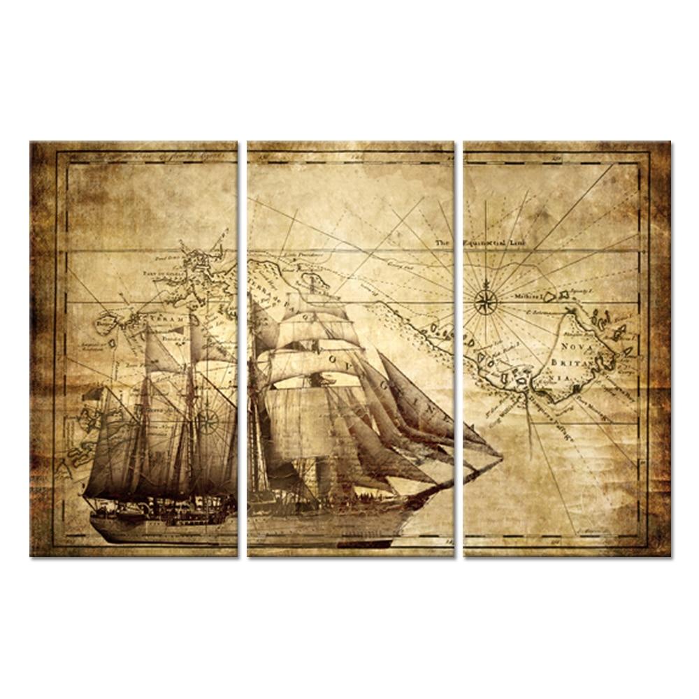 3 шт., винтажная карта, холст, настенная живопись, приключения, океан, Парусная Карта, компас, лодка, парусный спорт на море, постер, художестве