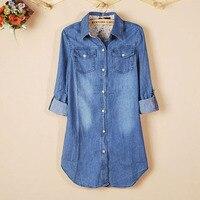 1 PC Nowy Wysokiej Jakości Kobiety Dziewczyny Dorywczo Koszula Z Długim Rękawem Wiosna Jesień W Stylu Vintage Niebieski Denim Skręcić w dół Kołnierz bluzka Bluzki Bluzka