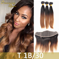 T1B/30 Peruvian Virgin Hair Straight 3 Bundles With Full Lace Frontal 8A Top Two Tone Peruvian Straight Ombre Hair With Frontal